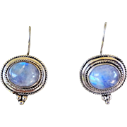 Vitnage 1970's Italian Moonstone Earrings Sterling Silver