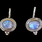 Vitnage 1970's Italian Moonstone Earrings Sterling Silver