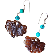 Chinese Hand Carved Jade & Turquoise Carved Butterfly Earrings Pierced Ears