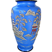 Vintage 1920's Japanese Wedgewood Blue Porcelain Moriage Vase Large 9 Inches High