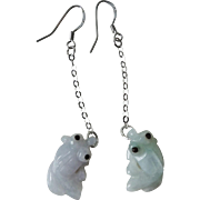 Vintage Chinese Hand Carved Jadeite Koi Fish Earrings Sterling Silver
