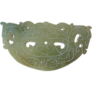 """Vintage 1980's Large Chinese Translucent Jade Dragon Pendant or Plaque  4.5"""" x 2.25"""""""