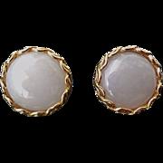 Vintage 14k Gold Earrings Translucent Lavender Jadeite Cabachons