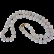 Vintage Lavender Jadeite Necklace  9k Gold Clasp 8 mm Bead Size 52 Grams