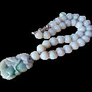 Superb Chinese Vintage Lavender Jade 12mm Agate Bead Necklace 107.8 grams