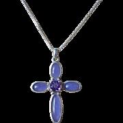 Vintage Lavender Jadeite Amethyst Cross Sterling Silver