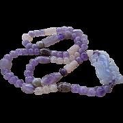 Vintage Chinese Carved Lavender Jadeite Amethyst Rose Quartz Necklace