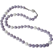 Vintage Amethyst White Jade Necklace Sterling Silver Filigree Clasp
