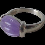 Vintage Lavender Jadeite Sterling Silver Ring Size 9