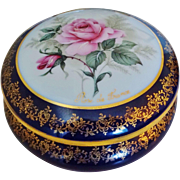 Large Vintage Limoges Rose De France Porcelain Dresser Trinket Jewelry Box Heavy 22k Gold ...