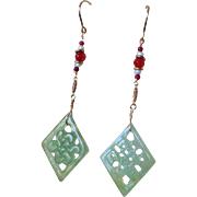 Vintage Carved Knot Jade Earrings Pearls, Rubies.