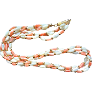Salmon Coral Mother of Pearl 3 Strand Necklace