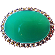 1920's Art Deco Translucent Chrysoprase Marcasite Sterling Silver Brooch Made in Germany