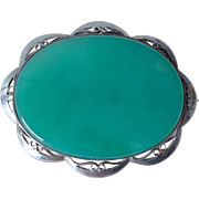 Superb Large Vintage English Chrysoprase Brooch Sterling Silver Mount