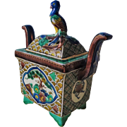 Antique 1868-1912 Meiji Kutani Polychrome Censor Koro with Parrot on the lid