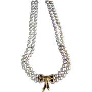 18k Cultured Pearls Necklace With 18k Clasp Pave Diamonds