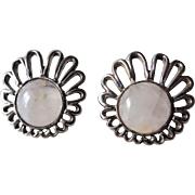 Vintage 1960s Moonstone Silver Earrings