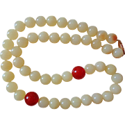 Rare 19th Century Chinese 14k Hetian White Mutton Fat Jade Necklace
