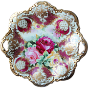 """Antique Nippon Royal Kinran Roses Large 11"""" Plate Heavy Gold Gilding And Beading"""