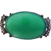 Art Deco 1920's Chrysoprase Marcasite  Oval Shaped Brooch Sterling Silver