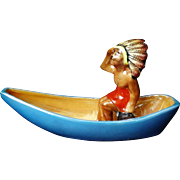 Vintage Japanese Hand Painted Porcelain Chief In Canoe Jewelry Ring Holder
