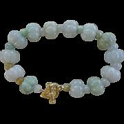 Pale Green Hand Carved Melon Shaped Jadeite Bracelet Gold Vermeil Clasp