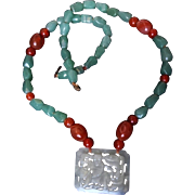 Chinese Qing Carved Jade Pendant Carnelian Aventurine Necklace