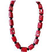"Massive Vintage  25mm Dark Red Coral Onyx Necklace 26"" Length 242 grams"