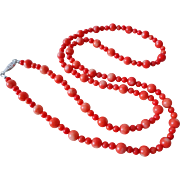 "Stunning Vintage Italian Red Coral Necklace 28 "" Long 34 grams"