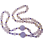 "Superb Vintage Chinese 14k Carved Amethyst Rose Quartz Necklace 34"" Length"