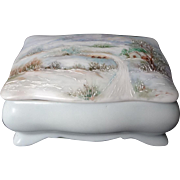 Vintage 1962 Hand Painted Porcelain Jewelry Trinket Box By World Renown Ruth Little (1907-1997