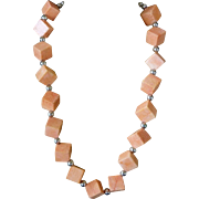 Vintage Chinese 1970's Coral Necklace 12.5mm Bead  92.2 Grams