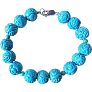 Vintage 1970's Chinese Turquoise Carved Bracelet Sterling Clasp