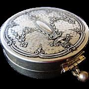 Art Deco 1920's Silver Repousse Dance Wrist Rouge Powder Compact