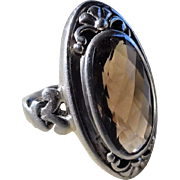Vintage Sterling Silver Smokey Topaz Ring Size 6