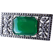 Art Deco Chrysoprase Marcasite Brooch Sterling Silver Mount