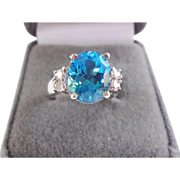 Superb Large Oval Swiss Blue Topaz And Diamonds Ring 14k White Gold