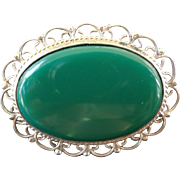 Vintage Early 1900's Taxco Oval Chrysoprase Brooch Sterling Silver Mount