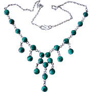 Vintage Malachite Sterling Silver Necklace Taxco