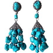 Vintage Early 1900's Chinese Turquoise Sterling Silver Chandelier Style Earrings