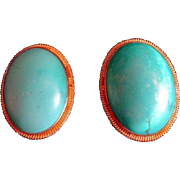 Vintage Chinese Large Turquoise Oval Shape Earrings Gold Vermeil