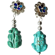 Vintage Chinese Turquoise Hand Carved Frog Filigree Earrings Clip On