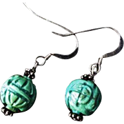 Antique Chinese Carved Turquoise Earrings Sterling Silver Hooks