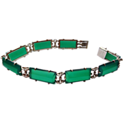 Art Deco Wachenheimer Chrysoprase Bracelet Sterling Silver Links And Clasp
