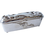 Rare 1910 Antique Art Nouveau Repousse Silver Plate Ladies Glove Box