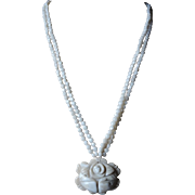 Vintage 2 Strand White Coral Necklace Carved Rose Pendant 14k Yellow Gold Clasp