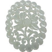 Chinese Hand Carved White Jade 2 Sided Pendant Pierced Flower Motif