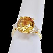 Rare 18k Exquisite Golden Champagne Zircon Trillion Cut Diamonds Ring