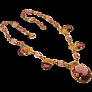 Vintage Purple Necklace in a Goldtone Filigree Setting