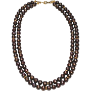 Chocolate Cultured Freshwater Pearl Double Strand Necklace with Vermeil.